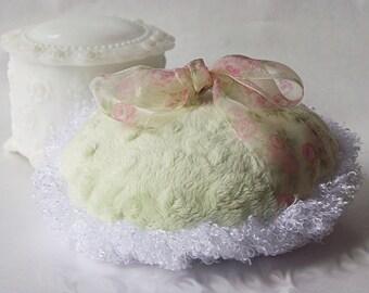 BIG and Fluffy Powder Puff (pistachio green and organza)