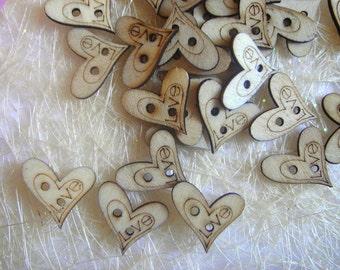 200 Wooden  Wedding  Love Hearts, Wedding Wood  Favor Hearts,Wood Love hearts,