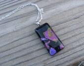 JEWELRY SALE- Pink, Purple, Black Glass Necklace- Dichroic Glass