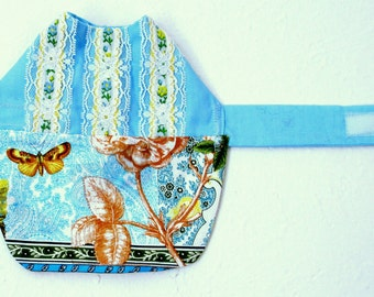 Dress for Puppy or Teacup Dog - Custom Small Dog Clothes with Baby Blue Bodice with Lace and Multicolored Floral Skirt