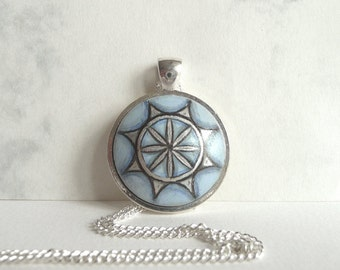 Light Blue Necklace, Handmade Charm Bezel Pendant, Hand Painted Round Charm, Geometric Flower Art,  Fashion Jewelry Necklet