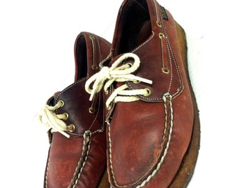 Oxblood Unisex Leather Boat Shoes 7.5 or 9 - Dexter Lace Up Unisex Boat Shoe Loafers 7.5 or 9
