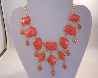 Gold Chain Bib Necklace with Deep Peach Charms and Dangles