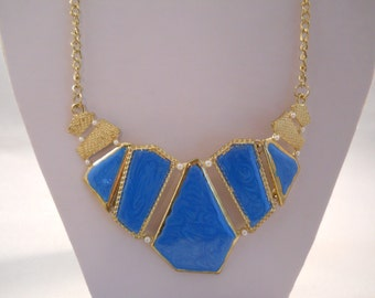 SALE Bib Necklace with Gold Tone and Blue Pendants on a Gold Tone Chain