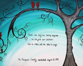 Family of Birds cardinals: Abstract Acrylic Tree Painting, turquoise, red, gray