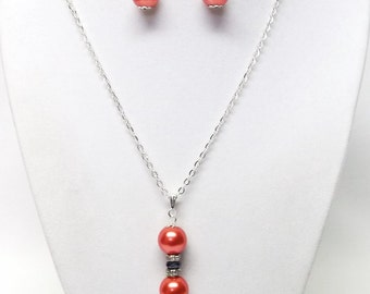 Reddish Orange Glass Pearl Pendant w/Rhinestone Necklace & Earrings Set