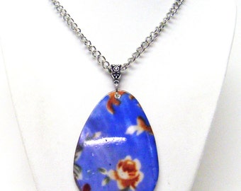 Large Blue Mop Shell Tear Drop Pendant w/Flower Necklace