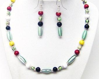 Multicolor Wood Bead Necklace & Earrings Set