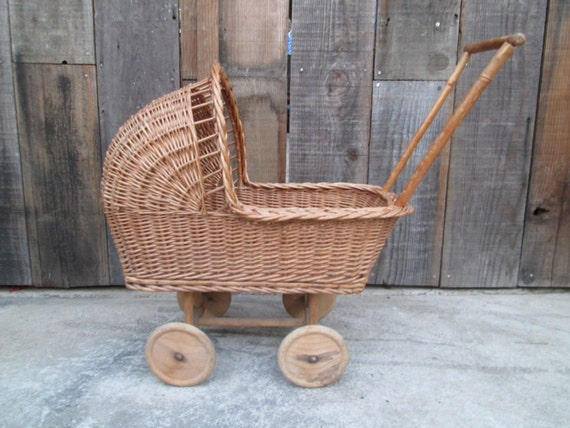 Vintage Doll Stroller Carriage Buggy Wooden Wicker For Large