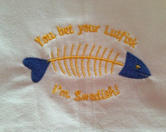 Swedish Lutfisk Embroidered 100% Organic Cotton Kitchen Flour Sack Towel