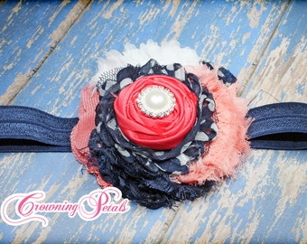 Coral, Navy Blue, White Headband, Hair Accessories, Fabric Flowers Hair Clip, Hair Piece, Baby Girl Hair Bows, Baby Hair Bow