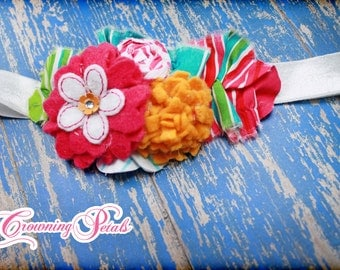 Felt Flower Headband, Baby,Turquoise, Fuchsia, Mustard, Infant Hair Bow, Felt Hair Accessories, Fabric Flower Headband, Hair Accessory