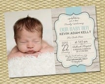 Birth Announcement - Photo Baby Boy Announcement - Rustic Wood & Kelly Typography - Any Color Scheme