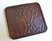 Dark brown leather wallet embossed with snakeskin pattern, leather billfold, mens wallet