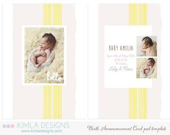 5x7in Birth Announcement Flat Card PSD Template Summer 2014 vol3
