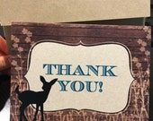 Bambi Baby Shower Thank You Card | Woods, Rustic, Deer, Fawn Themed Baby Shower, Bridal Shower