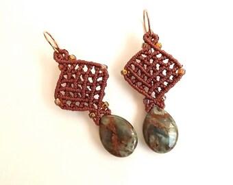 Macrame Earrings, African Green Opal Briolette Earrings with Red Brown Thread