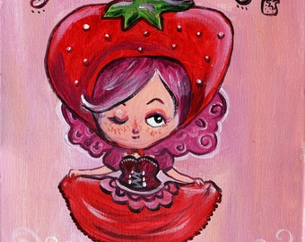 Strawberry Girl Acrylic Painting