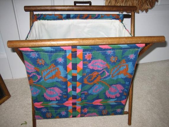 Vintage Folding Knitting Basket : Vintage folding sewing knitting craft basket bag standing wood