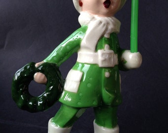Vintage Christmas Caroller Figurine, Porcelain Boy, singing, holding wreath and real candle, 1950s