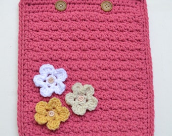 Crochet iPad Device Case Cozy Cover Pink White Yellow Flowers Handmade Littlestsister