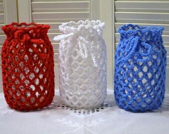 Crochet Candle Holder Set of 3 Luminaire Lantern Mason Jar Cover Red White Blue Patriotic Flower Vase Littlestsister