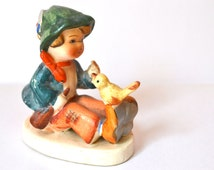 Boy Singing to Canary  Kitschy Small Porcelain Figurine Japan Made VC74