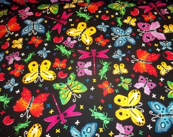 "BUTTERFLYS  MULTI-COLORED    Design pattern  1/2 Yard - 100% Cotton Very cute fabric 54"" wide"