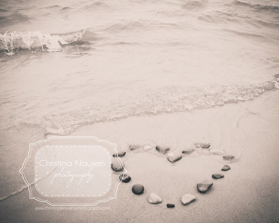 Beach Photo. Heart. Stones. Pebbles, Beach, Sand, Heart, Love. Wisconsin Landscape. Fine Art Photography