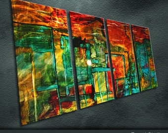 "Large Original Metal Wall Art Modern Abstract Painting Sculpture Indoor Outdoor Decor "" City Impression Series "" by Ning"