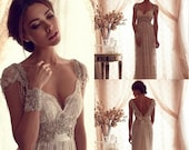 Backless Wedding Ball Gown Beach Wedding Dress Beads Capped Sleeves Vintage Wedding Dress Lace