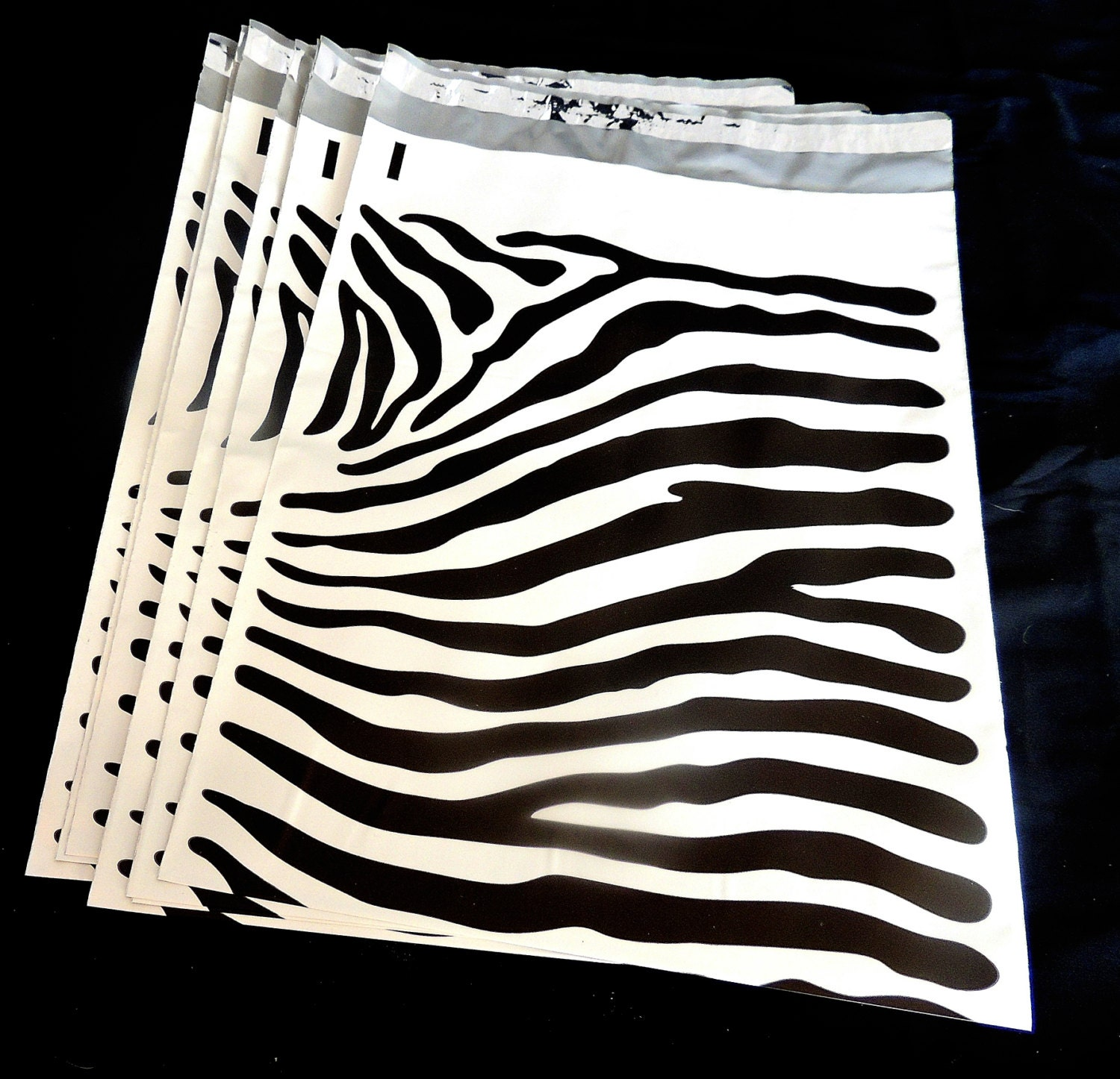 20 pack 12 x15 zebra decorative poly mailers flat by