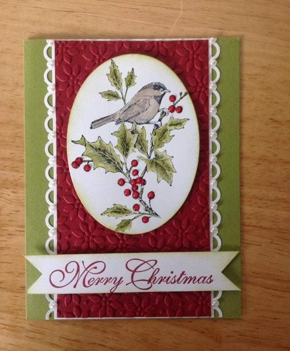 Items similar to stampin up handmade christmas card