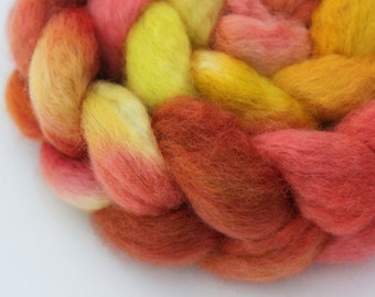 Hand Painted Top / Roving | BFL | Golden Sunrise | 100g