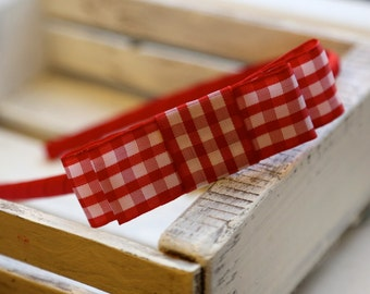 Red Gingham Headband (Red and White)
