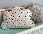 Childrens Cloud Pillow - French Jersey Knit/Minky - Gray - White - Ready to Ship
