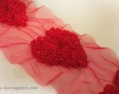 Hot Pink Rosette Hearts -  1/2 Yard of  Shabby Chiffon Heart Trim -- Valentine's Day Baby Headbands