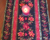 Quilted Table Runner - Table Topper - Burgundy Floral and Black