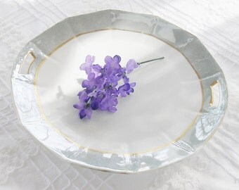 Shabby Chic/Cottage Style Green Lusterware Handled Cake Plate, Vintage, Wedding, Housewarming Gift Inspired
