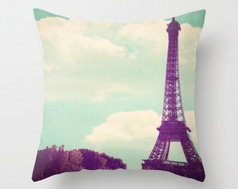 Throw pillow  (includes insert) - Paris, Pastel home decor, Eiffel Tower