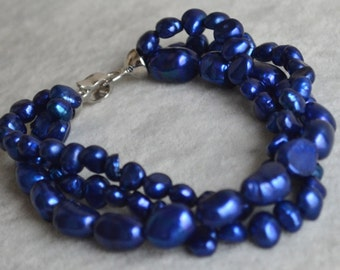blue pearl necklace,3 strands 8 inches 6-10mm  freshwater pearl bracelet,baroque pearl bracelet,weddidng jewelry