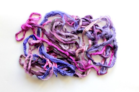 1 oz ( 28g ) Mulberry Silk Fiber Roving Top Ends Mixed Colors PURPLE LILAC