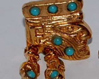 Salvador Teran hinged earrings ring set gold turquoise