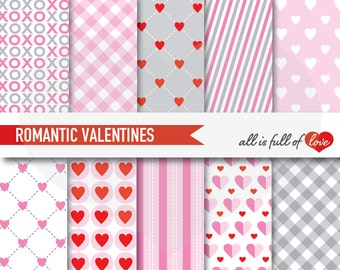 VALENTINES Digital Paper Pack Pink Grey Scrapbook PATTERNS Heart Backgrounds 12x12 Valentines Paper digital graphics red xoxo papers heart