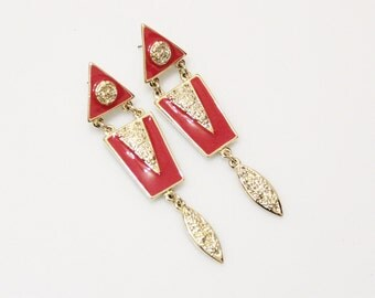 Long Red and Gold Earrings Made in USA, 1980'S Earrings