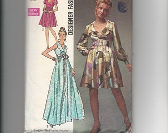 Vintage Sewing Pattern Designer Fashion Simplicity 8790 for Dress, Sz 12, 1970s