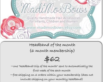 MadiMosBows Headband of the month MEMBERSHIP for 6 MONTHS