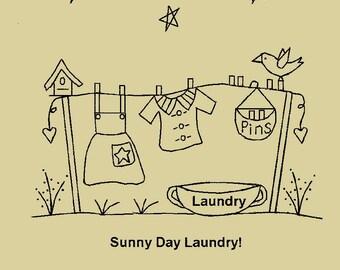 Primitive Stitchery E-Pattern, Sunny Day Laundry!