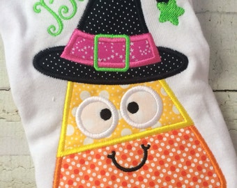 Candy Corn Witch Halloween Shirt - Girls Halloween Shirt - Candy Corn Shirt - Witch Shirt