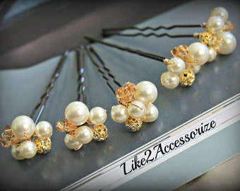 Cluster of Pearl Hair Pins, Wedding Accessories, Bridal Hair Piece, Bridemaid Hair Do,  White Ivory Rose Gold Hair Pins, Pearls Hair Clip